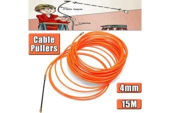 Cable Push Puller Rodder Reel Conduit Nylon Snake Fish Tape Wire Orange 4MM 15M - orange