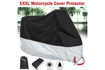 XXL Motorcycle Cover Outdoor Protector Rain Water Snow Dust Motorbike Resistant(XXL 265x105x125CM)