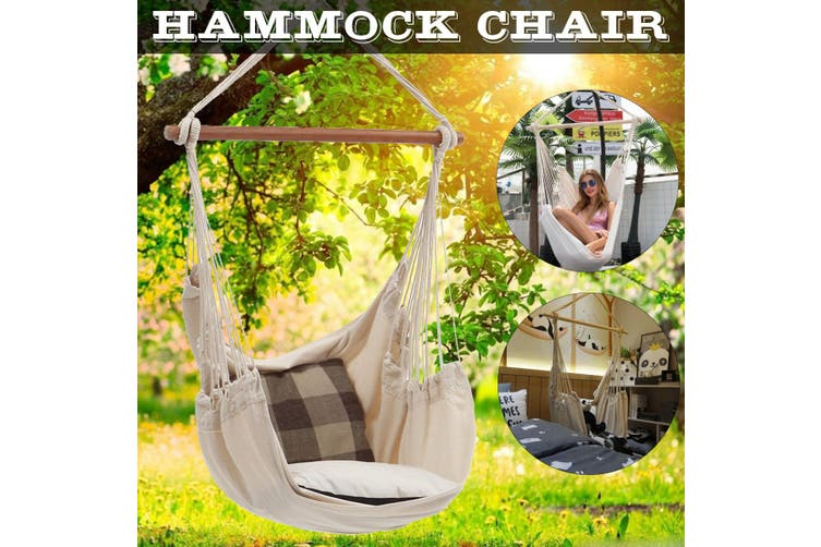 Dick Smith Portable Hanging Hammock Chair Swing Thicken Porch Seat Garden Outdoor Camping Patio Travel Beige Without Pillows Hammocks Home Garden Yard Garden Outdoor Living