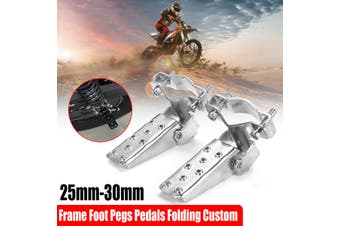 1Pair Black Steel Motorcycle Bike Parts Frame Foot Pegs Pedals Folding Custom 25mm-30mm