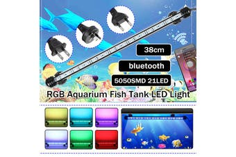 38CM RGB Bluetooth APP Waterproof IP68 Underwater 21LED 5050SMD Aquarium Light Fish Tank Tube Lamp Submersible,White/White+Blue/RGB Crystal Glass AC100-240V (38CM US Plug)