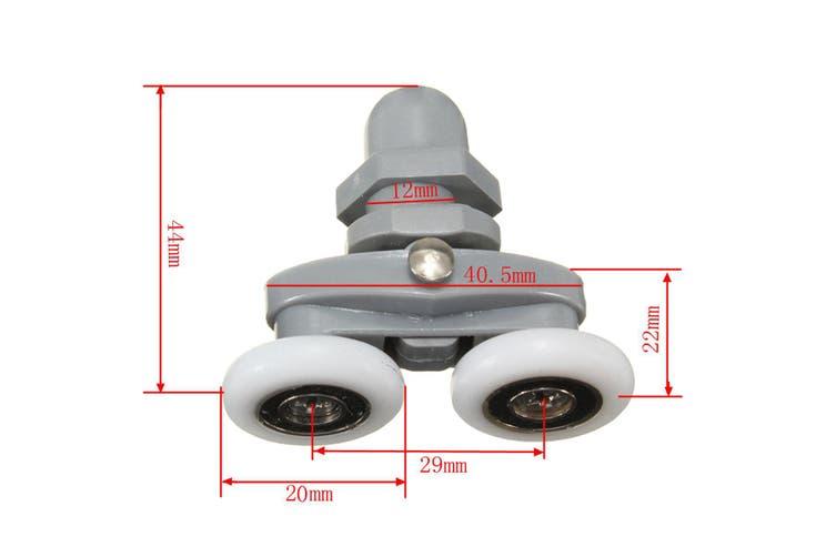4Pcs Twin Bottom Top Shower Door Rollers Pulleys Wheels Runner Slider 20mm(20 mm)