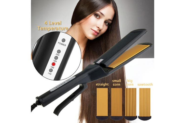 【Free Shipping + Flash Deal】4In1 Pro Hair Straightener Curler Crimper Replaceable Ceramic Ionic Curling Iron(without Plates)