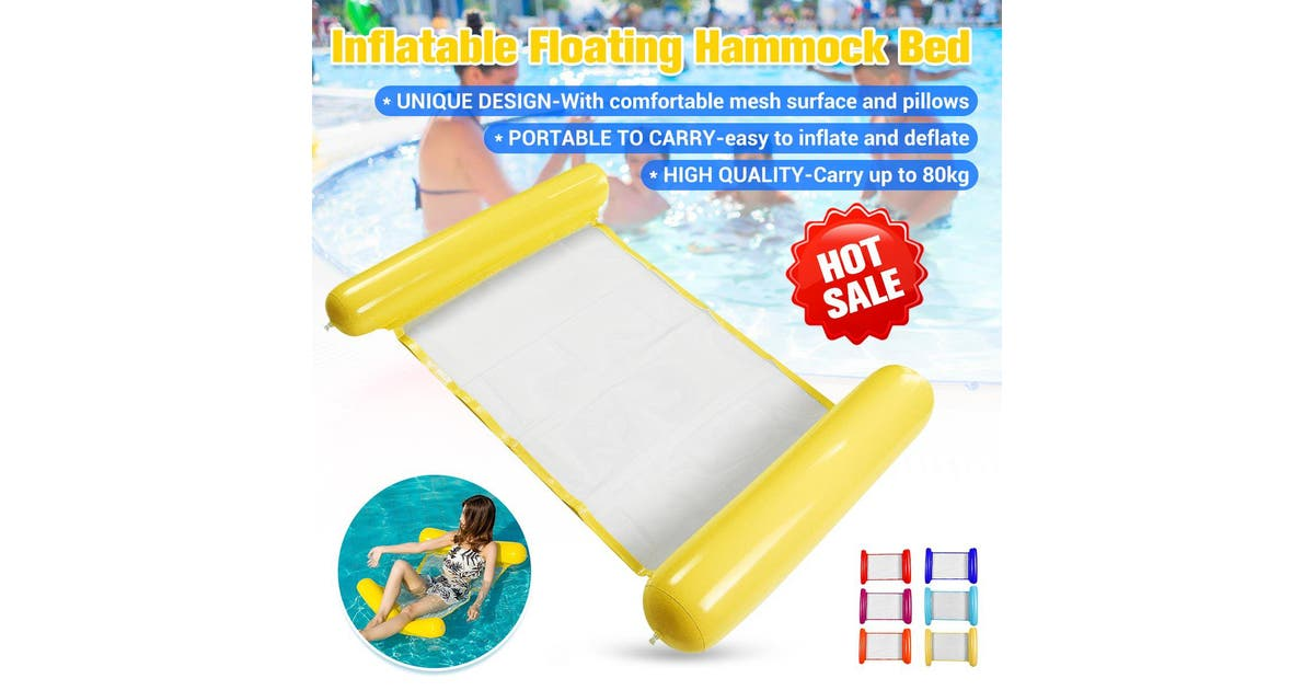 zakarriey summer pvc floating water hammock float lounger inflatable floating bed beach swimming pool lounge float bed chairyellowfloating bed for adults 5118x2874 inch zwozwo2xak