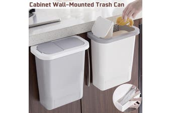 Kitchen Cabinet Door Hanging Trash Can With Lid Wall-Mounted Waste Push-Top -- Grey / White(grey)