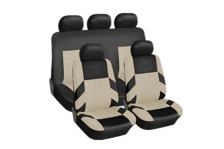 9Pcs Universal Car Seat Covers Front Rear Head Rests Full Set Auto Seat Cover(beige,D-9pcs)