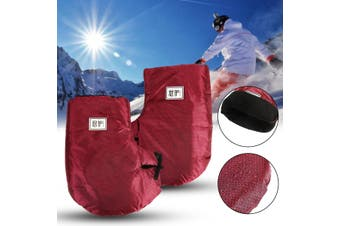 Motorcycle Bike Reflective Thermal Handlebar Grip Muffs Gloves Mitts Plush lined - winered