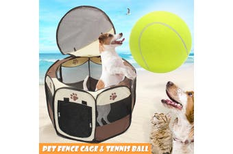 Large Dog Pet Cat Playpen Tent Portable Exercise Fence Kennel Cage Oxford Crate (black)
