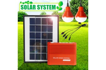 Solar Panel Kit Emergency Generator System Phone Charger with 2Pcs LED Light Bulb + 4IN1 USB Charging Cable, for Home Outdoor Camping