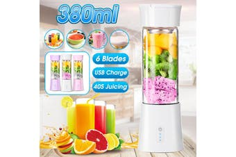 380ML Portable Juicer Mixer Maker Rechargeable USB Juicer Fruit Blender Shaker Bottle(white)