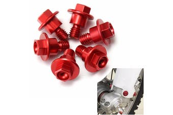6 Pcs CNC Red Bolt Fork Guard Fit For Honda(red)