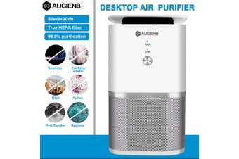 AUGIENB A-DST02 Air Purifier/Cleaner/Freshener Air Detector With True HEPA Filter 30m3/h CADR Anti-Allergy/Anti-Bacteria Remove Odors/Dust/Pet Dander/Smog/Pollen Reduce PM2.5 for Home/Office(US Plug)