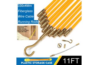 """3/16 """" x 11' Fiberglass Wire Cable Running Rods Fish Pulling Wire Holder Kit(33 cm)"""
