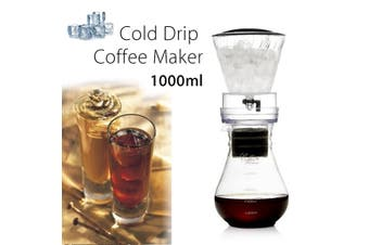 10cups 1000ml Dutch Coffee Pot Cold Drip Water Drip Brew Coffee Maker Serve US(1000ml Transparent)