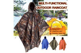 3 IN 1 Poncho Waterproof Hoody Raincoat Hiking Rain Coat Camping Mat Shelter (camouflagegreen,3 in 1 Raincoat)