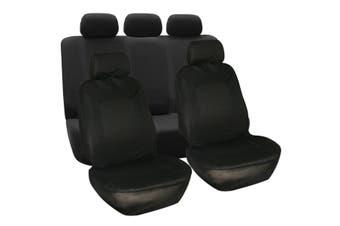4PCS / 9PCS -- Universal Car Seat Covers Full Car Seat Cover Car Cushion Case Cover -- Red / Black / Grey / Blue / Beige(black,9Pcs(Front Back Row))