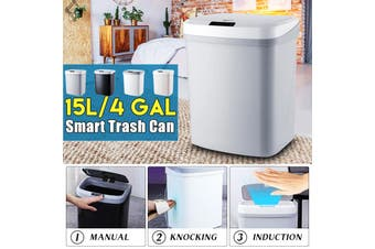 【auto-induction+Knock sensor】Smart trash can living room bedroom home induction vibration beat open trash can custom(black,Type2 [3 Mode])