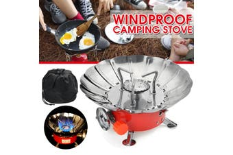 Mini Gas Burner Folding Outdoor Cooking Stove Butane Cooker Camping Windproof (Flower Stove)