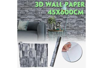 """17.7""""x 16.9ft Peel and Stick Faux Brick Stone Wallpaper Gray Vinyl Self Adhesive PVC Wall Sticker Home Decoration for Living Room Bedroom Master Room"""