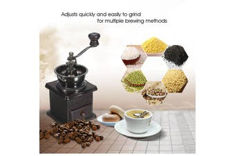 Manual Coffee Bean Spice Herbs Vintage Retro Hand Grinder Wooden Burr Mill Brown(Type C)