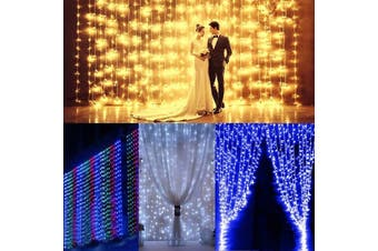 【Free Shipping + Flash Deal】 3Mx3M 300 LED String Fairy Wedding Curtain Light Outdoor Party Room Decor 110V(white,US Plug 110V)
