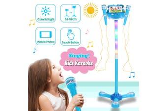Kids Karaoke 2 Microphone Adjustable Stand Phone Music Play Toys W/ Light Gift