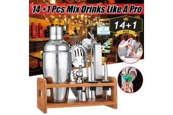 15pc Cocktail Bartender Bar Set Stainless Steel Beverage Mixer Bar Bartender Kit(15Pcs/set 550ml)