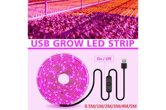 0.5/1/2/3/4/5m 30/60/120/180/240/300 LED Grow Light Strip Waterproof Full Spectrums USB 2835 Chip Phyto Lamp for Plants Flowers Greenhouse Hydroponic(Type A 500CM)
