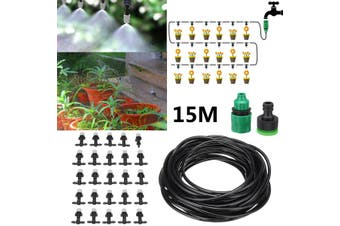 Garden Patio Water Mister Air Misting Cooling Micro Irrigation System Sprinkler(28pcs 15M (no timer))