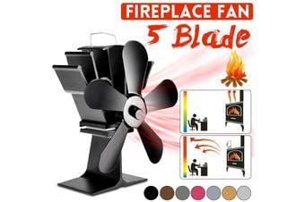 【Free Shipping + Flash Deal 】Fireplace Fan 5 Blades Heat Thermal Power Fan For Wood/ Log Burner/Fireplace(black,Stove Fan)