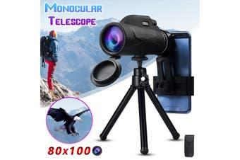 80x100 HD Zoom Telescope Monoculars Optical Lens Night Vision Camera+Clip&Tripod(80x100)