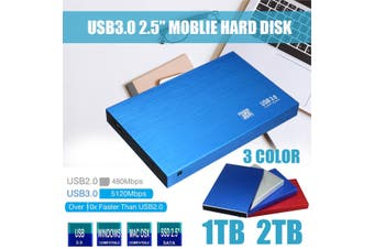 USB3.0 2TB 2.5'' HDD SATA External Portable Mobile Metal Hard Disk Drive (silver,1TB)