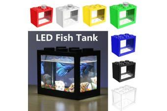 7 Colors Clear LED Light USB Mini Fish Tank Aquarium Home Desktop Ornament Decor(blue,battery type)