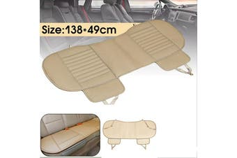 Universal Breathable Rear Seat Cover Bamboo PU Leather Pad Mat Car Chair Cushion(beige,Rear(1pc))