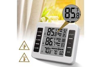 2 Sensor Wireless Digital Thermometer Freezer Fridge Indoor Outdoor Alarm Magnet(white,Type B(White with 2 Sensors))