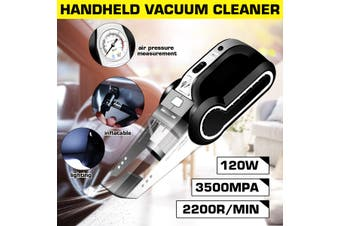 4 in 1 Car Vacuum Cleaner 3500Pa Wet & Dry Vacuum Cleaner Handheld with Auto Tire Inflator + LED(black,Vacuum Cleaner)