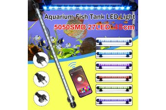 48CM RGB Bluetooth APP Waterproof IP68 Underwater 27LED Aquarium Light Fish Tank Tube Lamp Submersible,White/White+Blue/RGB Crystal Glass AC100-240V(48CM AU Plug)