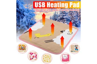 Random Pattern Electric Heating Blanket USB 5V 5W Portable Winter Warming Heated Carpet for Home Office Removable Washing
