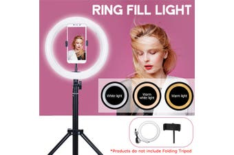 16/26/36cm 3 Color Stepless Adjustment Brightness Round Live Fill Light with Phone Clip LED Photography Selfie Beauty Light + 50/110/170cm Tripod(Option)(Only 26cm Fill Light Lamp)