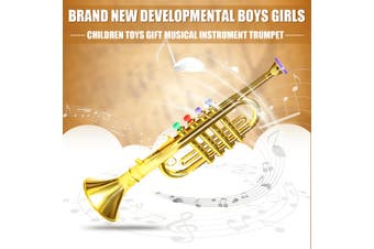 Toy Trumpet 4 Colored Keys Musical Instrument Practical Gift for Kid Children(gold)