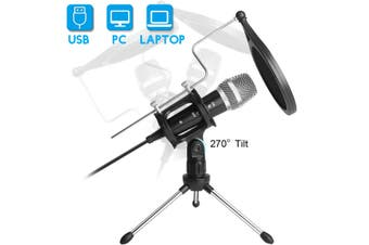 USB Computer Microphone Set Is Very Suitable For Voice (With Tripod And Windshield)