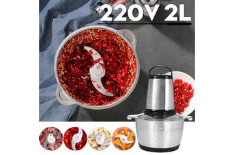 2L large Capacity Meat Grinder Dual Speeds Multifunctional Household Food Processor Meat Kitchen Blender 500W Stainless Steel Chopper(500W)
