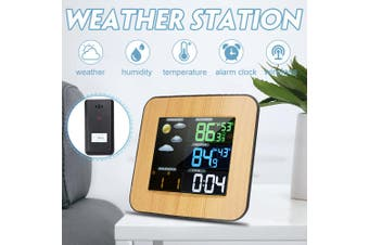 Wireless HD Screen Weather Station Digital Forecast Humidity Temperature Clock(Wood Grain Weather Station)