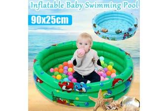 90cm Baby Kids Swimming Pool Inflatable Pool 3 Layer Bathtub Outdoor Indoor Fun(green,green)