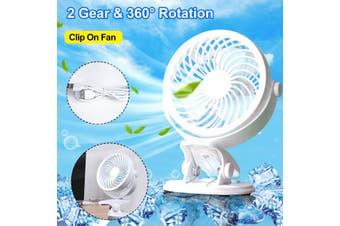 360° Portable Travel Mini Fan Rechargeable USB Clip On Mini Desk Fan & Car Fan