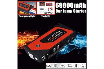 69800mAh 12V Car Jump Starter Portable USB Power Bank Battery Booster Clamp 600A Emergency Power Kit(69800mAh)