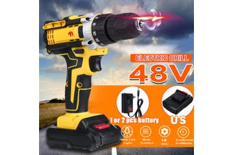 【US Plug】48V 18-Speed Adjustment Cordless Electric Drill Screw Unscrew Lithium Machine Tool With 2 x Battery+1 x Power Adapter (yellow,1Pcs Battery)