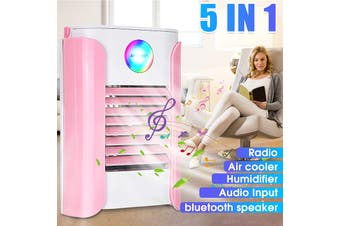 All In 1 Air Conditioner LED Cooler Humidifier Bluetooth Music Radio Speaker(pink)