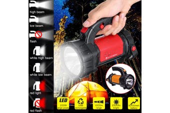 1000M Rechargeable LED Work Light Candle Power Camping Spotlight HandLamp(red,8000mAh 200W Enhanced Edition)