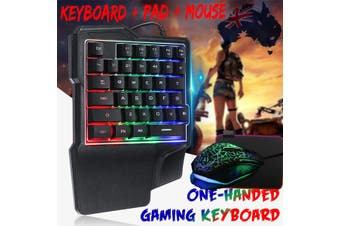 RGB LED Backlit Mini One-Handed Gaming Keyboard USB Wired Game 35 Key Accessory(one handed)